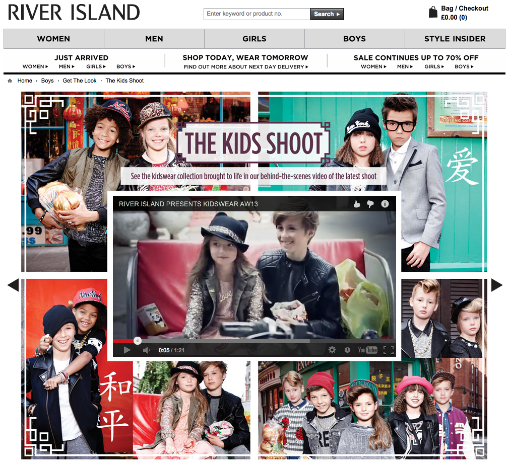 River Island Kids wear AW13 web page showing BTS film